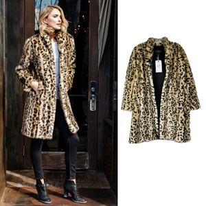 NWT-Donna Salyers Signature Leopard Faux Fur Coat